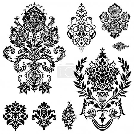 Illustration for Set of ornamental vector damask illustrations. Easy to edit. Perfect for invitations or announcements. - Royalty Free Image