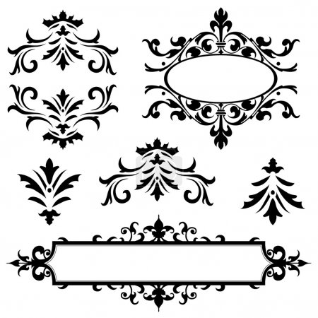 Illustration pour Ensemble d'ornements de vecteur. parfait pour les invitations ou annonces. - image libre de droit