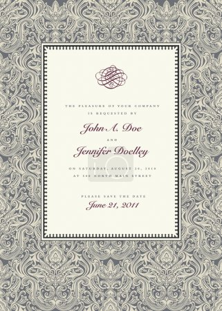 Vector Complex Damask Pattern and Frame