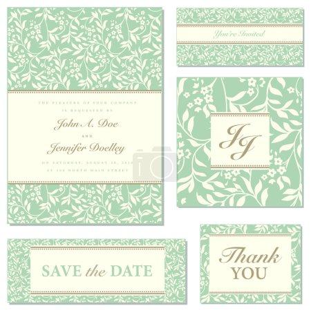 Vector Floral Wedding Frame Set