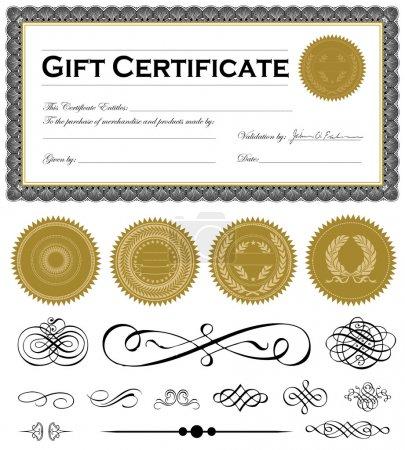 Illustration pour Cadre de certificat vectoriel et ensemble d'ornements vectoriels. Facile à modifier . - image libre de droit