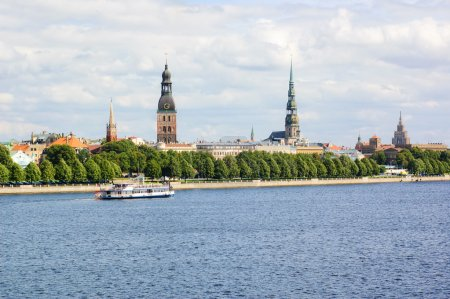 Panoramic view of Riga's old town and the Daugava ...