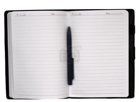 Photo for Open notebook and pen isolated on white - Royalty Free Image