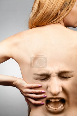 Photo for Back pain concept - waist spine in agony - Royalty Free Image