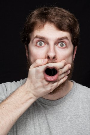 Photo for Man in shock after finding amazing secret news - Royalty Free Image