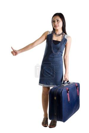 Pretty woman hitchhiking