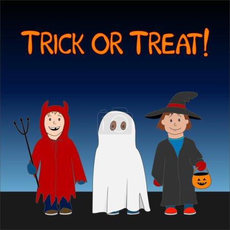 Illustration pour Halloween Trick or Treat illustration avec trois enfants habillés en sorcière, fantôme et petit diable . - image libre de droit