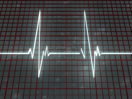 Photo pour Lumière cardiogramme et grille rouge sur fond de l'espace - image libre de droit
