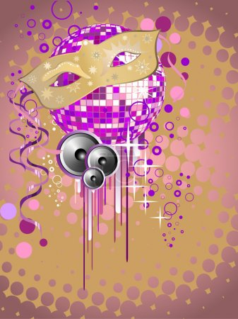 Illustration for Vector illustration of a carnivale mask on a colorful mirror ball - Royalty Free Image