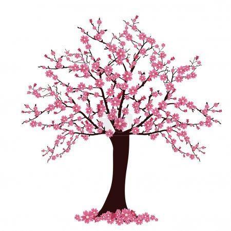 Illustration for Vector illustration of many cherry blosoms on a tree - Royalty Free Image