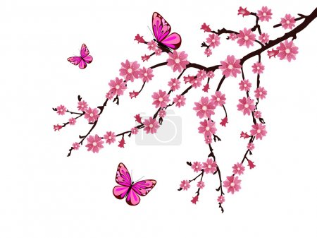 Illustration for Vector illustration of a branch with cherry blossoms - Royalty Free Image