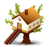House on tree with ladder Vector illustration