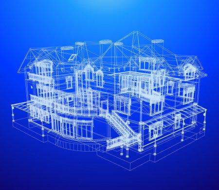 Illustration pour Plan directeur d'architecture d'une maison sur un fond bleu - image libre de droit