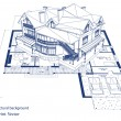 Architecture blueprint of a house over a white bac...