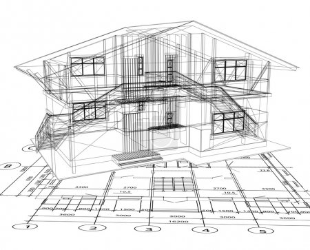 Photo for Architecture blueprint of a house over a white background - Royalty Free Image
