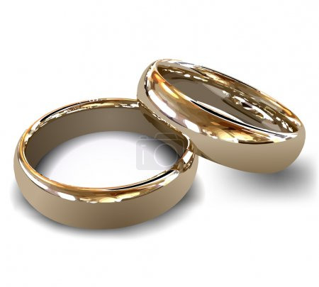 Illustration for Female and male gold wedding rings, vector illustration - Royalty Free Image