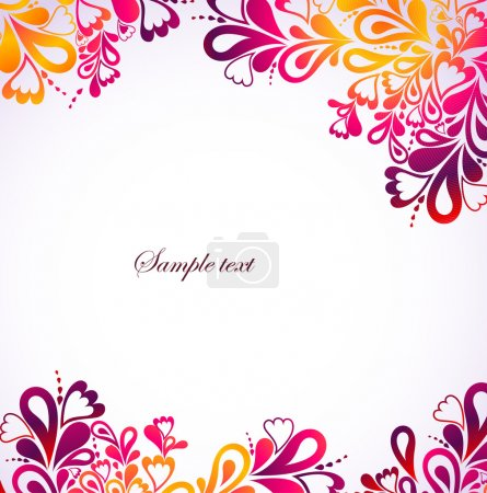 Illustration for Colorful background with heart and swirl. Vector illustration - Royalty Free Image