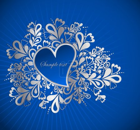 Blue Heart To The St.Valentine. Vector