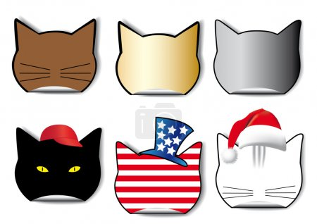 Six stickers of the cat?s profile in the different applications