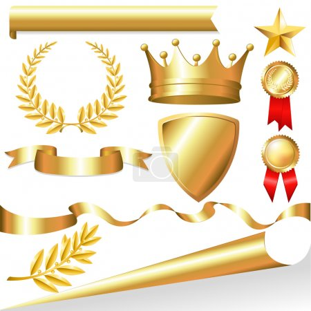 Photo for Golden Collection From Crowns, Medals, Board, Tapes, Laurel Branch And Wreath, Isolated On White Background, Vector Illustration - Royalty Free Image