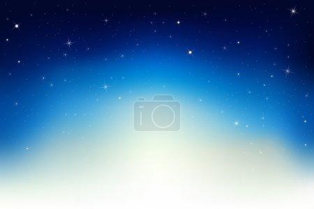 Illustration for Dark Blue Sky With Stars, Vector Illustration - Royalty Free Image