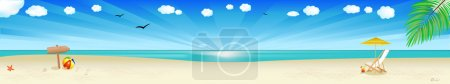 Photo for Beach Banner, Tropical Landscape With Beach, Sea And Palm Tree, Vector Illustration - Royalty Free Image