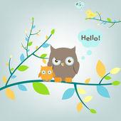 2 Owls Sitting On Tree Vector Illustration