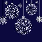 3 Stylized Christmas Balls On Blue Background Vector Illustration