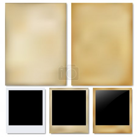 Illustration for Vintage Paper And Photo, Isolated On White Background, Vector Illustration - Royalty Free Image