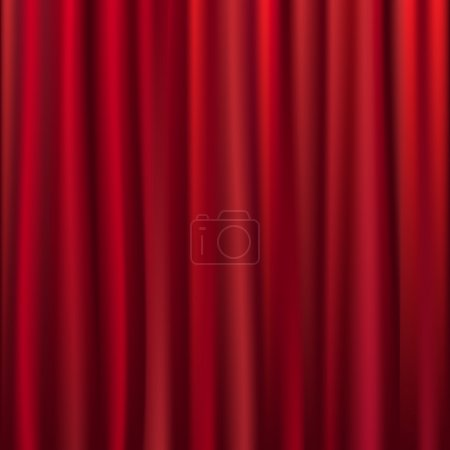 Illustration pour Rideau en velours de théâtre avec lumières et ombres, Illustration vectorielle - image libre de droit