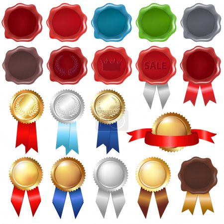 Collection Wax Seal And Award Ribbons