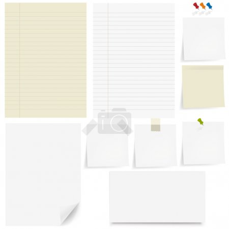 Illustration pour Set papier et collant, Pushpin, fond blanc - image libre de droit