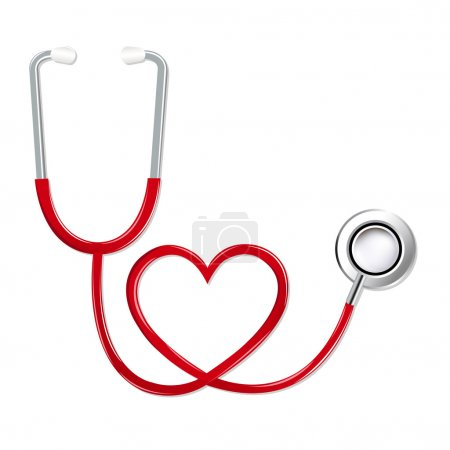 Illustration for Stethoscope In Shape Of Heart, Isolated On White Background, Vector Illustration - Royalty Free Image