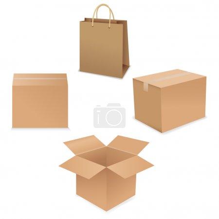 Ilustración de Sistema de la caja de envío, aislado sobre fondo blanco, ilustración vectorial - Imagen libre de derechos