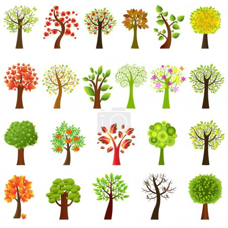 Illustration for Collection Of Trees, Isolated On White Background, Vector Illustration - Royalty Free Image