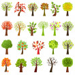 Collection Of Trees, Isolated On White Background,...