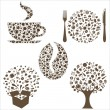 Restaurant Icons In Form Of Tree, Coffee Grain, Cu...