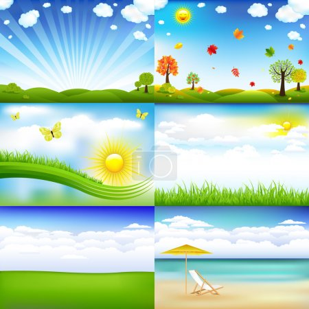 Illustration for 6 Beautiful Landscape With Trees And Clouds, Vector Illustration - Royalty Free Image