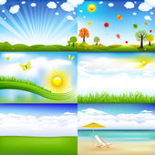 6 Beautiful Landscape With Trees And Clouds Vector Illustration