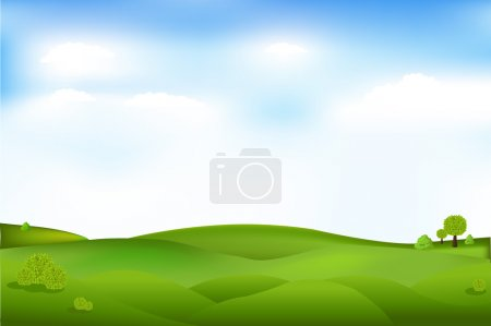 Illustration for Beautiful Landscape With Trees And Clouds In Sky, Vector Illustration - Royalty Free Image