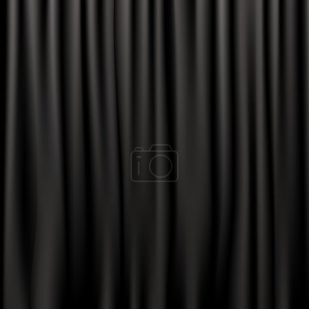 Illustration for Black Silk Curtains, Vector Illustration - Royalty Free Image