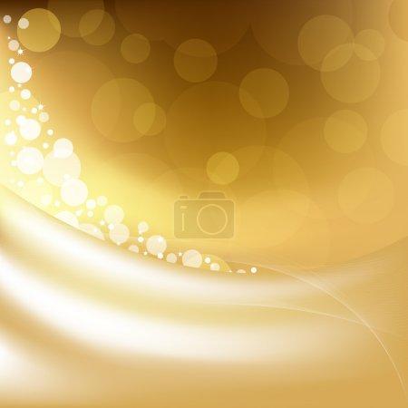 Illustration pour Arrière-plan doré avec des étoiles et Bokeh, Illustration vectorielle - image libre de droit