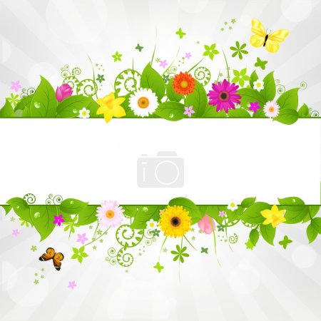 Illustration for Nature Background With Flower And Butterflies, Vector Illustration - Royalty Free Image