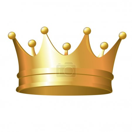 Gold Crown, Isolated On White Background, Vector I...