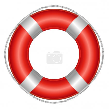 Red Life Buoy, Isolated On White Background, Vecto...