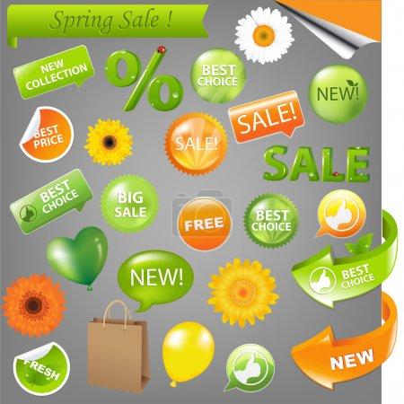 Illustration for Spring Sale Set, Vector Illustration - Royalty Free Image