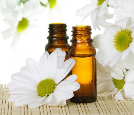 Photo pour Bouteilles d'huile essentielle avec Marguerite blanche fleur - image libre de droit