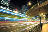 Modern Urban City with Freeway Traffic at Night, hong kong