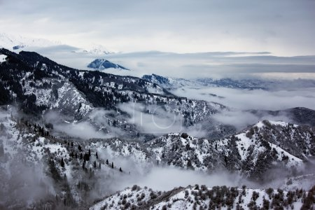 Overcast and winter mountain