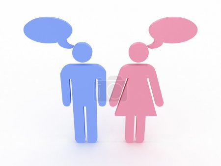 Signs of man and woman talking. 3D